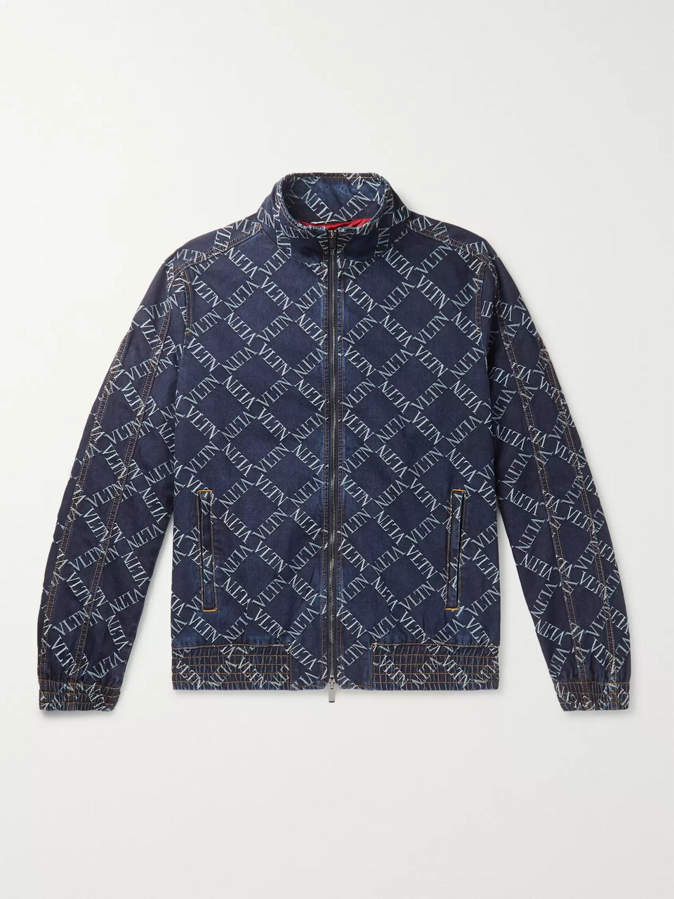Valentino Slim-Fit Logo-Jacquard Denim Bomber Jacket