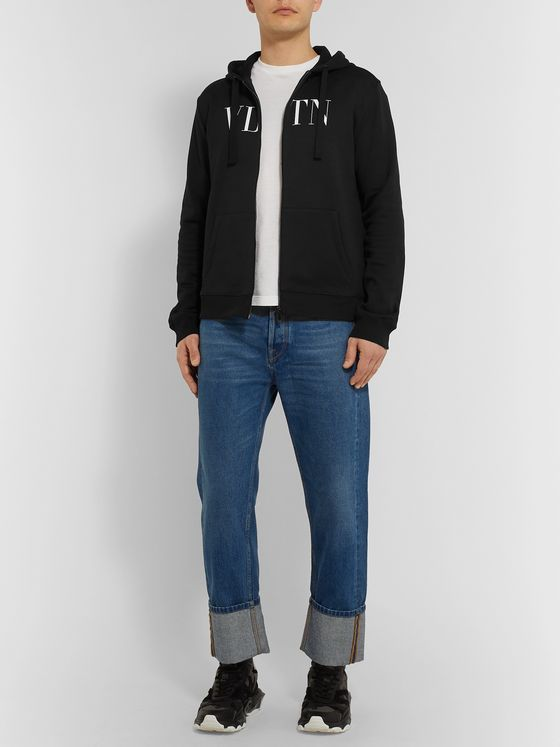 Valentino Logo-Print Loopback Cotton-Jersey Zip-Up Hoodie