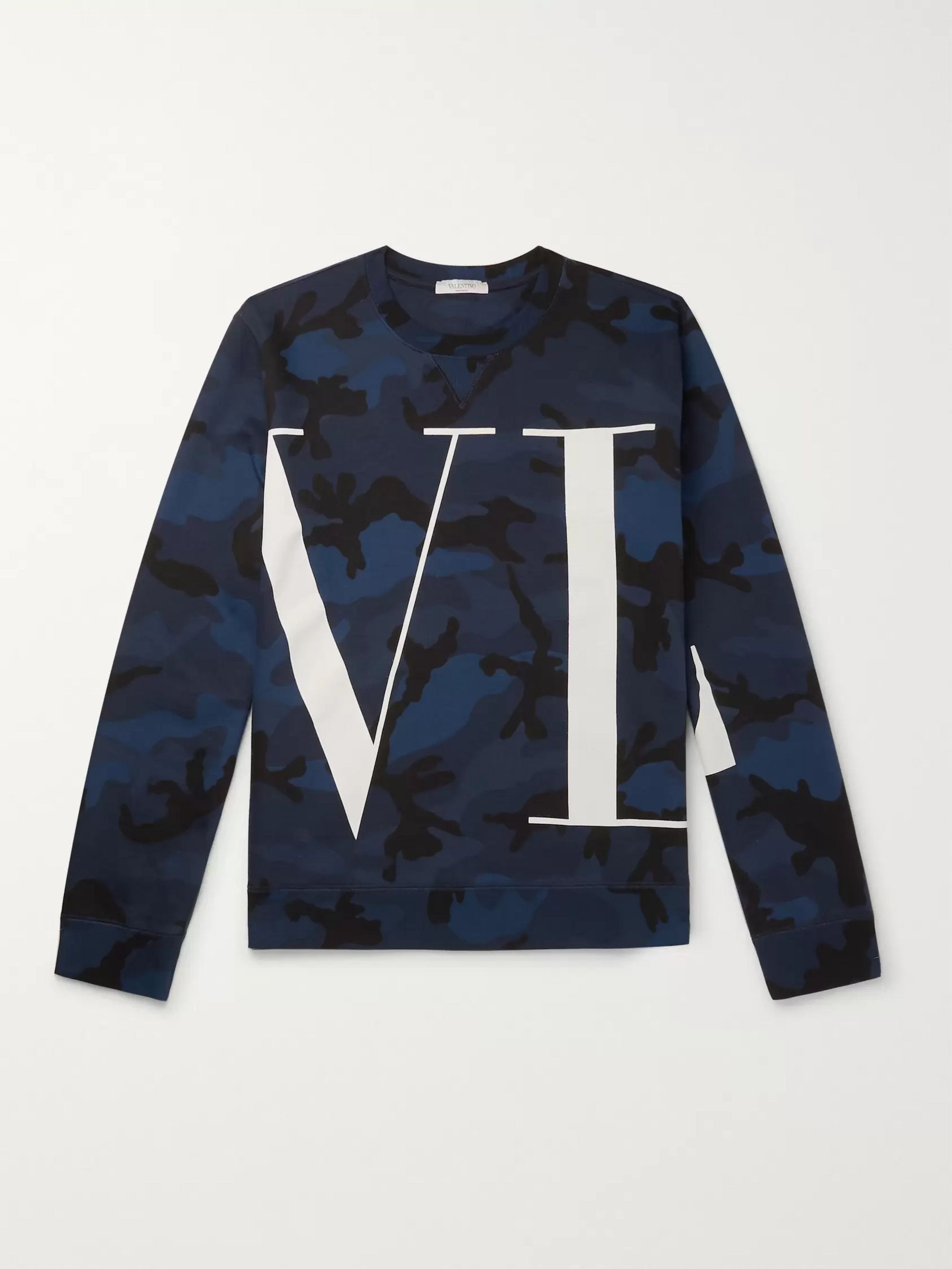 Valentino Logo and Camouflage-Print Loopback Cotton-Blend Jersey Sweatshirt