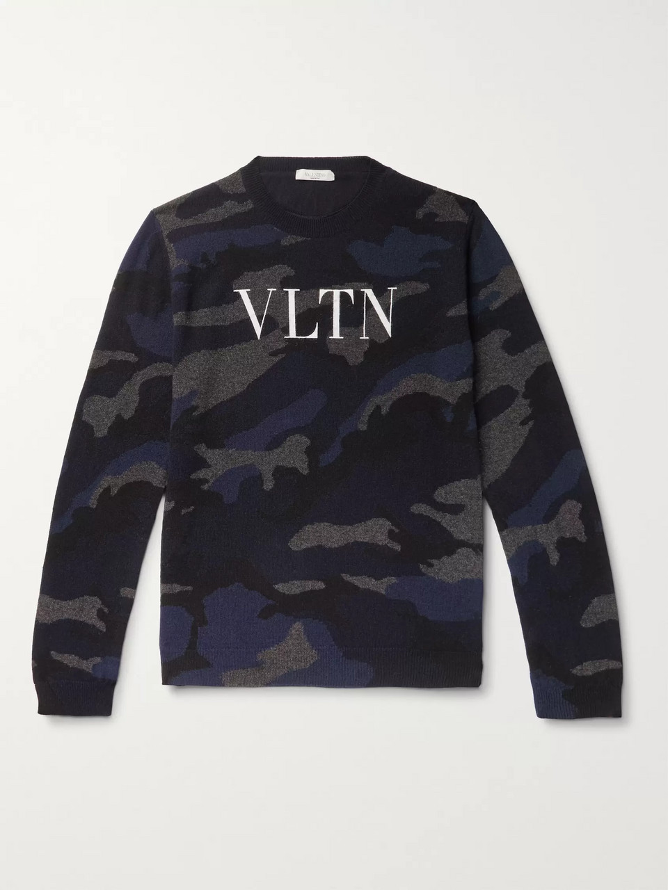 Valentino Logo-Painted Camouflage-Intarsia Cashmere Sweater
