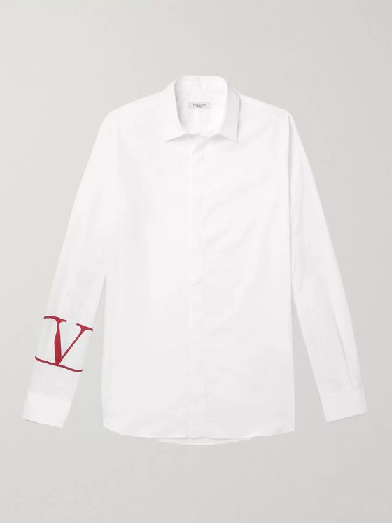 Valentino Slim-Fit Logo-Print Cotton-Poplin Shirt