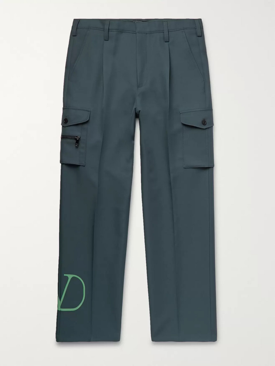 Valentino Pleated Logo-Print Tech-Jersey Cargo Trousers