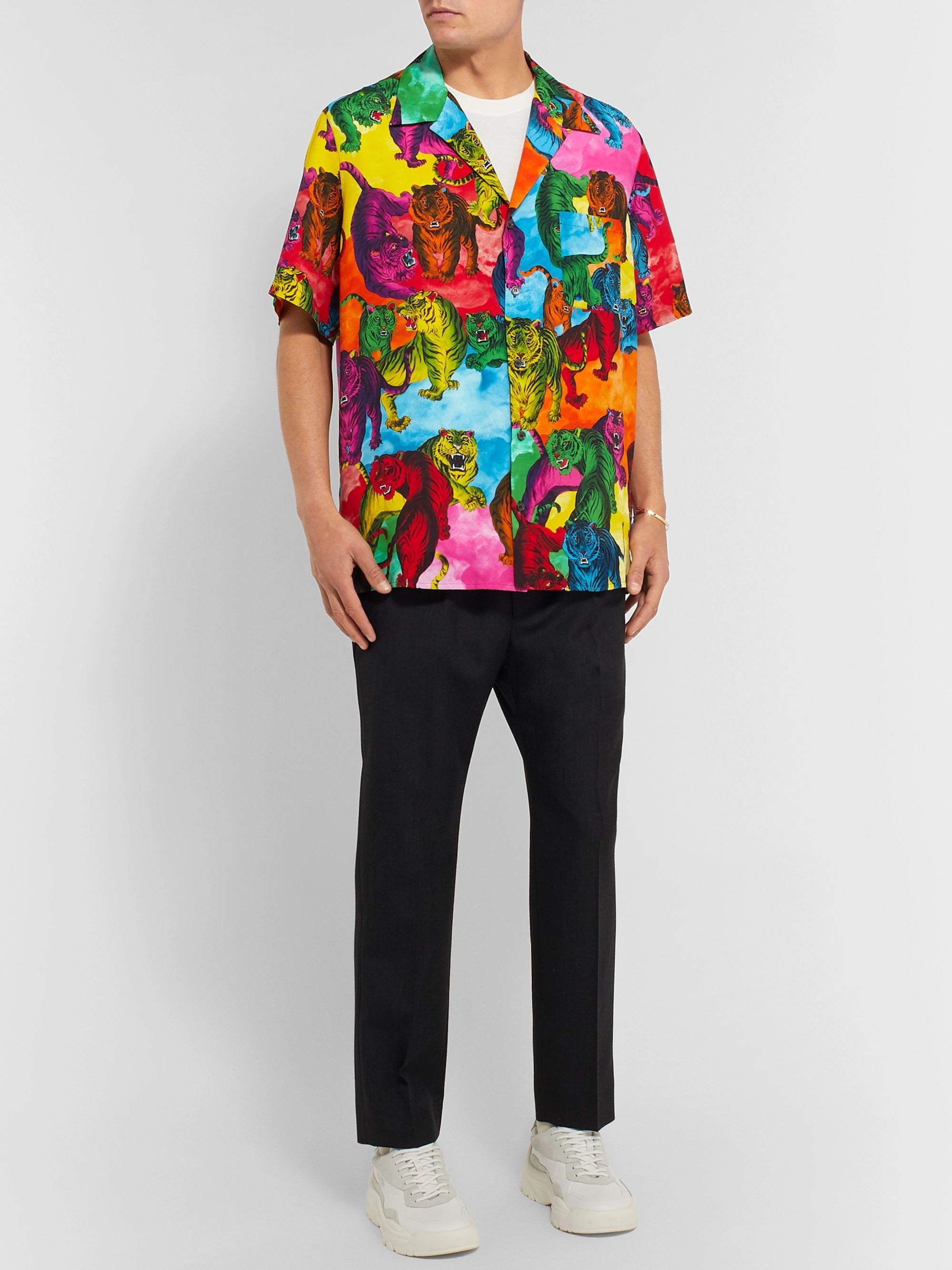 Valentino Oversized Camp-Collar Printed Voile Shirt