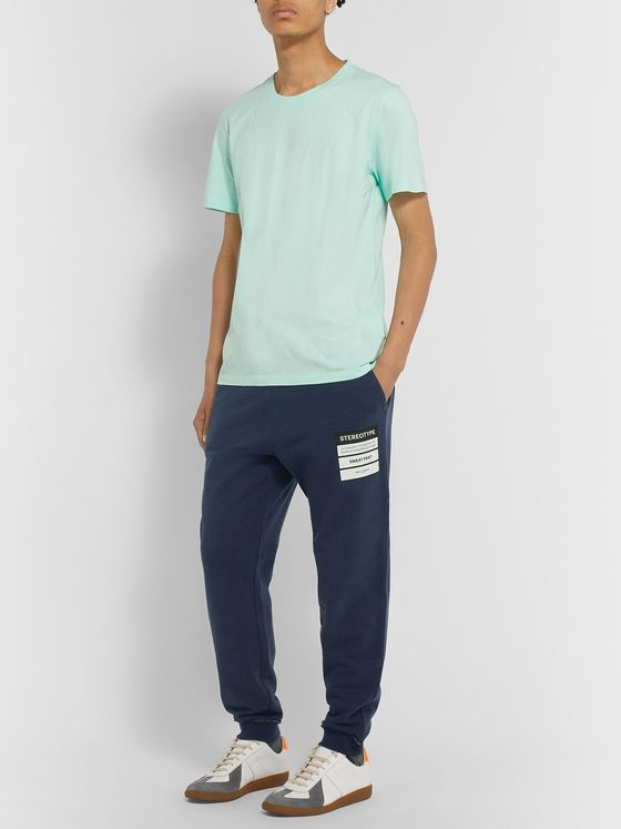 Maison Margiela Slim-Fit Tapered Appliquéd Loopback Cotton-Jersey Sweatpants