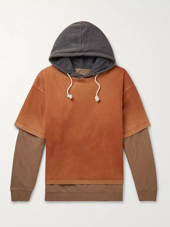 Maison Margiela Oversized Layered Garment-Dyed Loopback Cotton-Jersey Hoodie