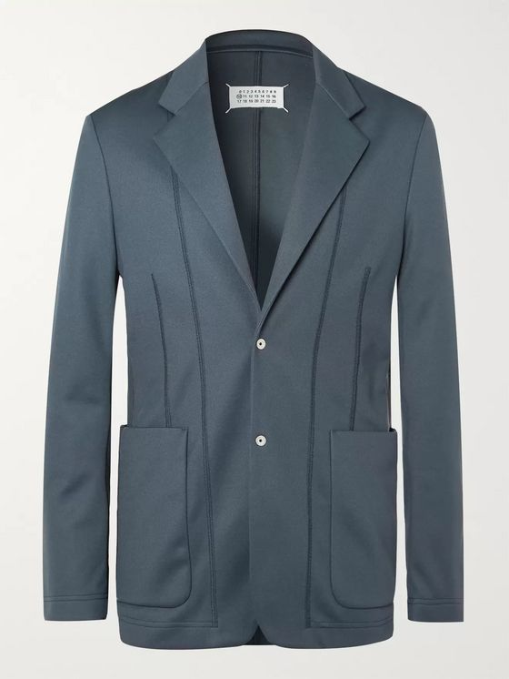 Maison Margiela Anthracite Satin-Trimmed Tech-Jersey Blazer