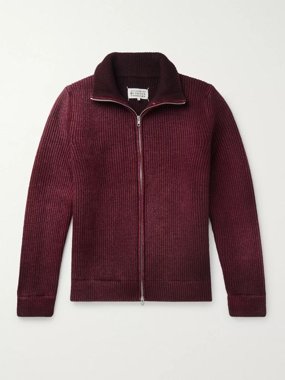 Maison Margiela Ribbed Over-Dyed Wool Zip-Up Sweater