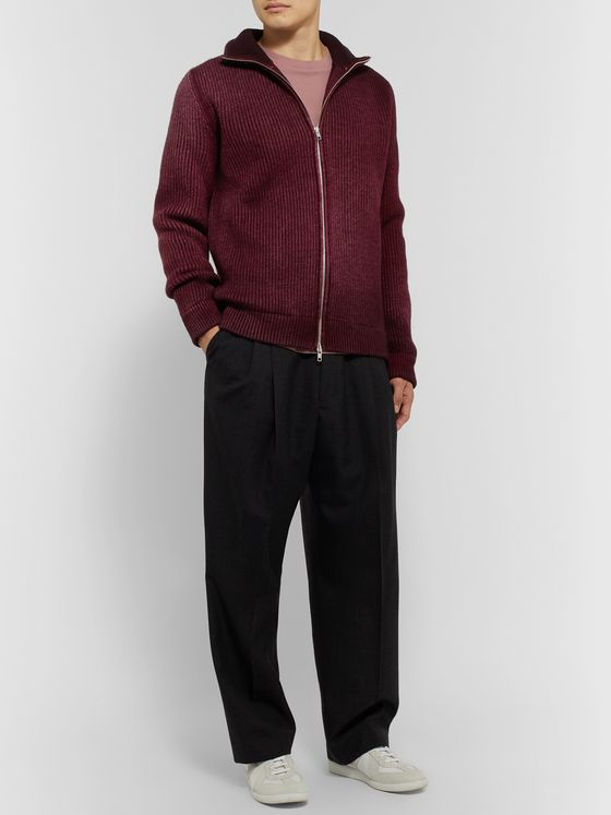 Maison Margiela Ribbed Wool Zip-Up Sweater