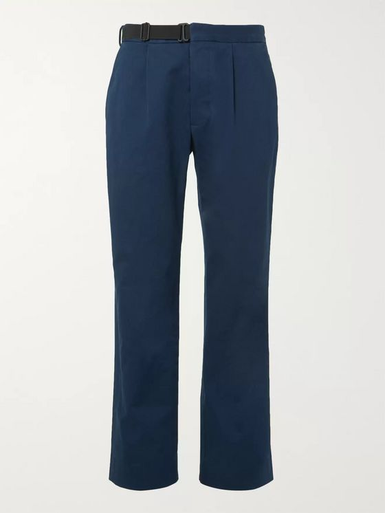 Maison Margiela Dark-Blue Pleated Cotton-Gabardine Chinos