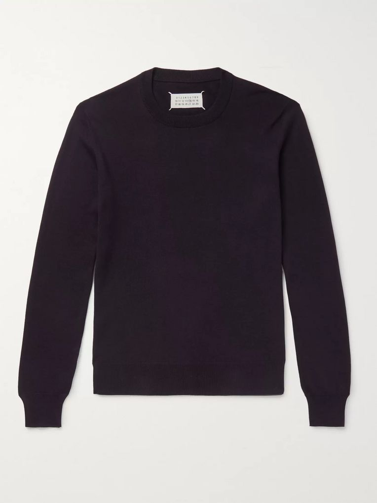 Maison Margiela Suede Elbow-Patch Cotton and Wool-Blend Sweater