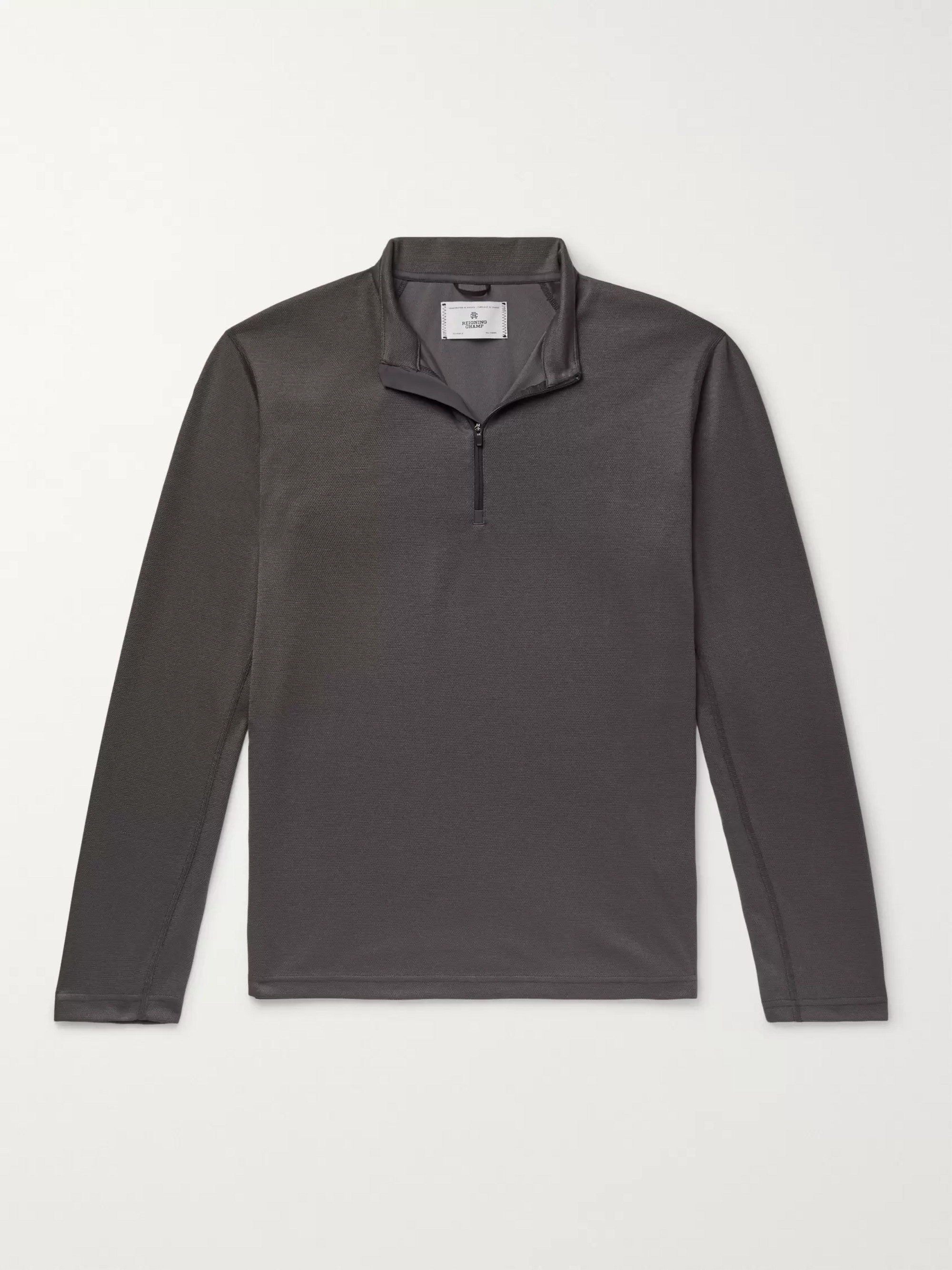 Reigning Champ Trail Slim-Fit Power Dry Tech-Piqué Half-Zip T-Shirt
