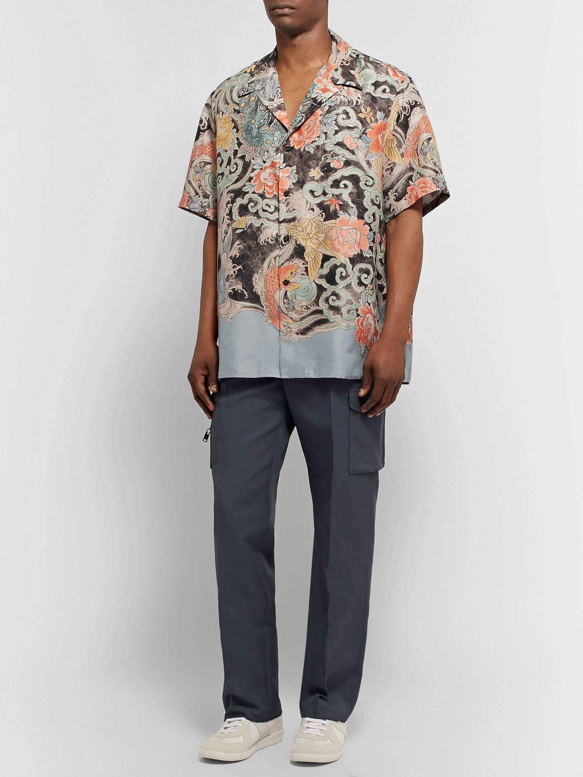 Valentino Camp-Collar Printed Silk-Twill Shirt