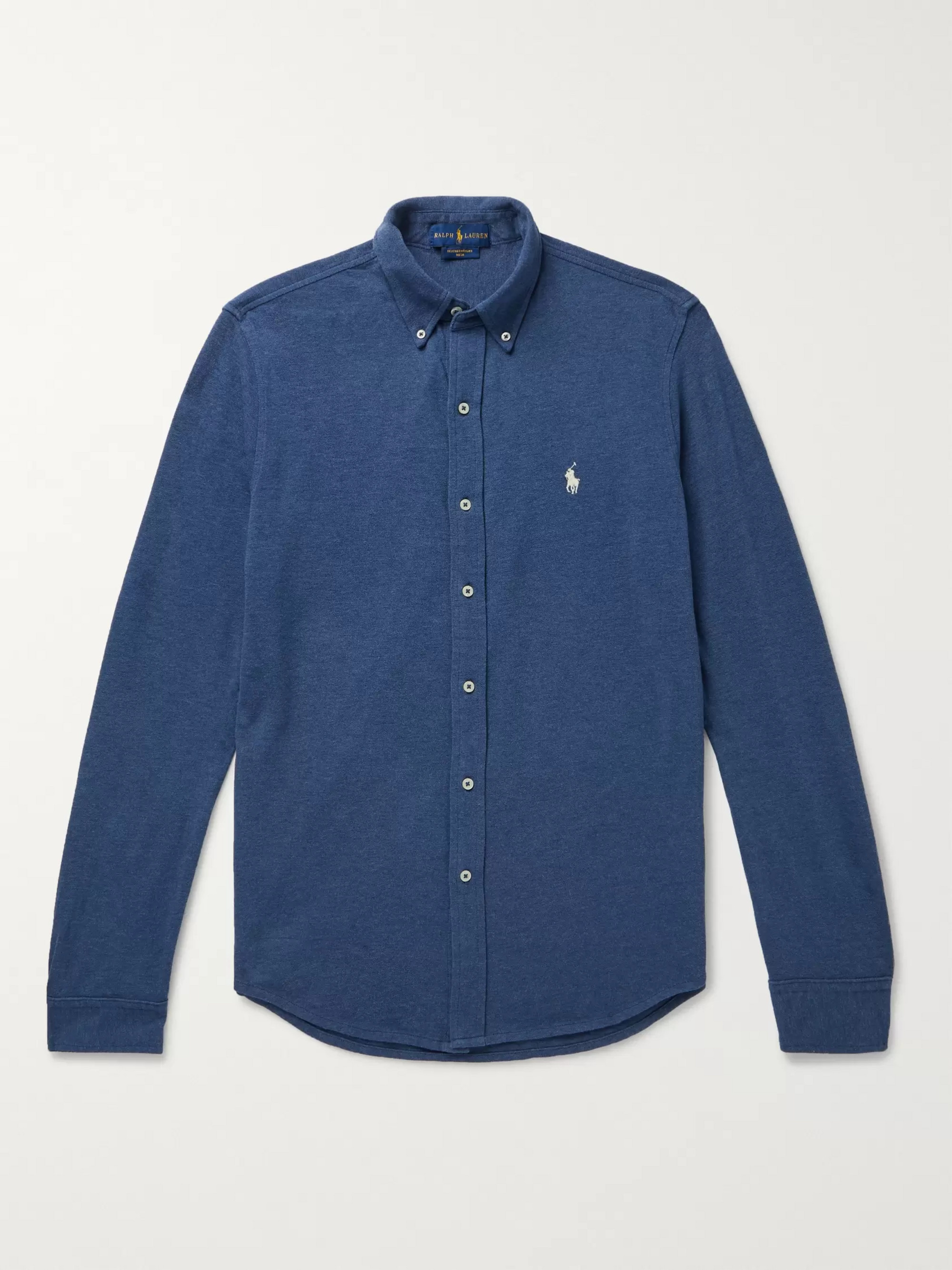 Polo Ralph Lauren Button-Down Collar Mélange Cotton-Piqué Shirt