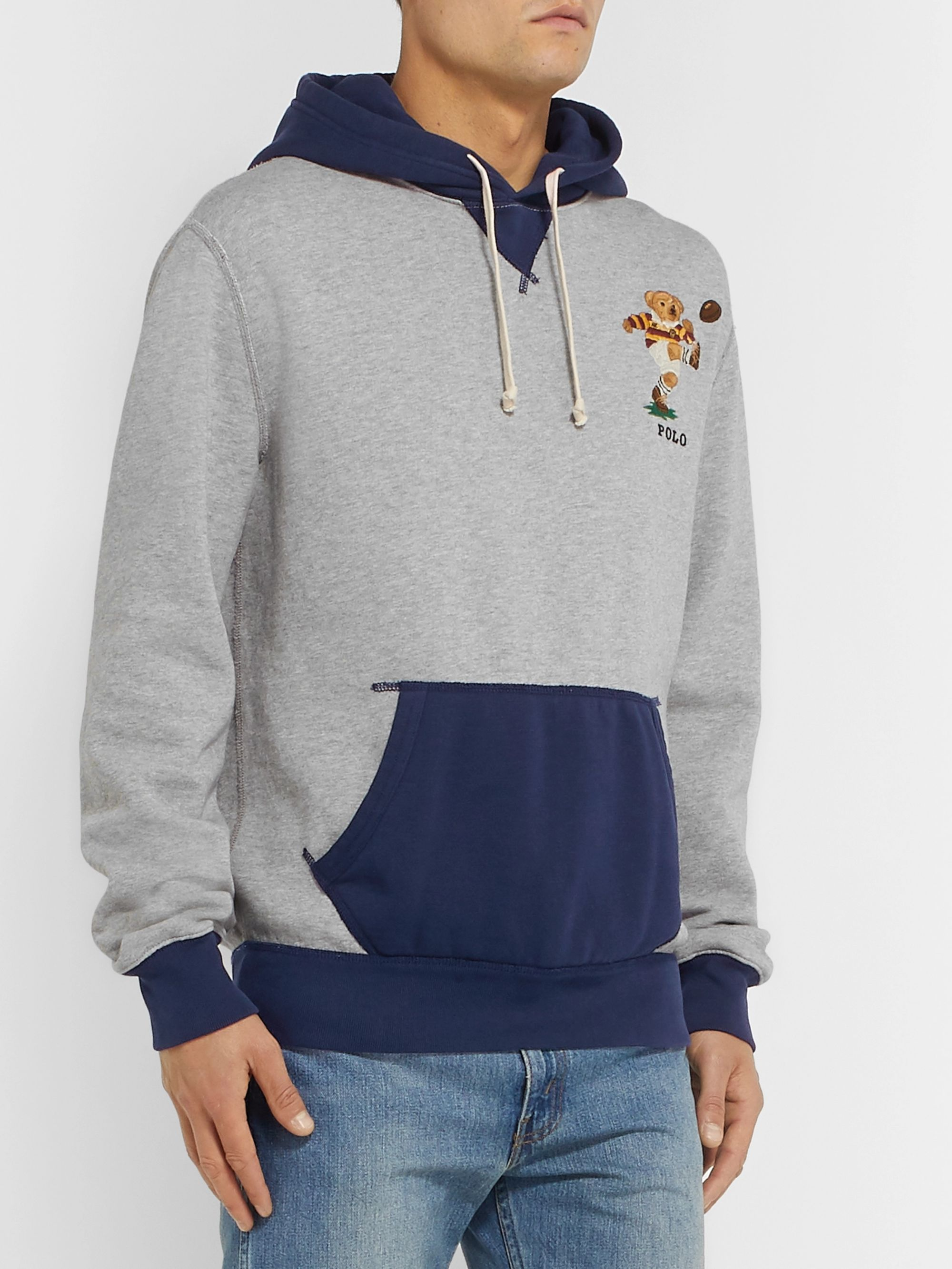 Polo Ralph Lauren Logo-Embroidered Colour-Block Fleece-Back Cotton-Jersey Hoodie