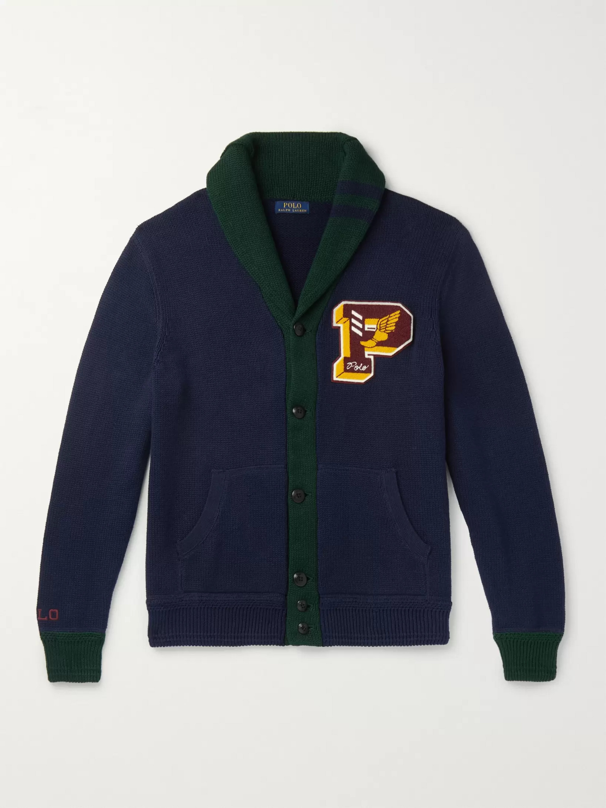 Polo Ralph Lauren Shawl-Collar Logo-Appliquéd Cotton Cardigan