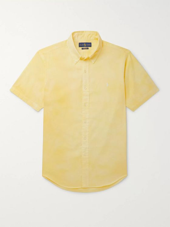 Polo Ralph Lauren Slim-Fit Button-Down Collar Tie-Dyed Cotton-Poplin Shirt