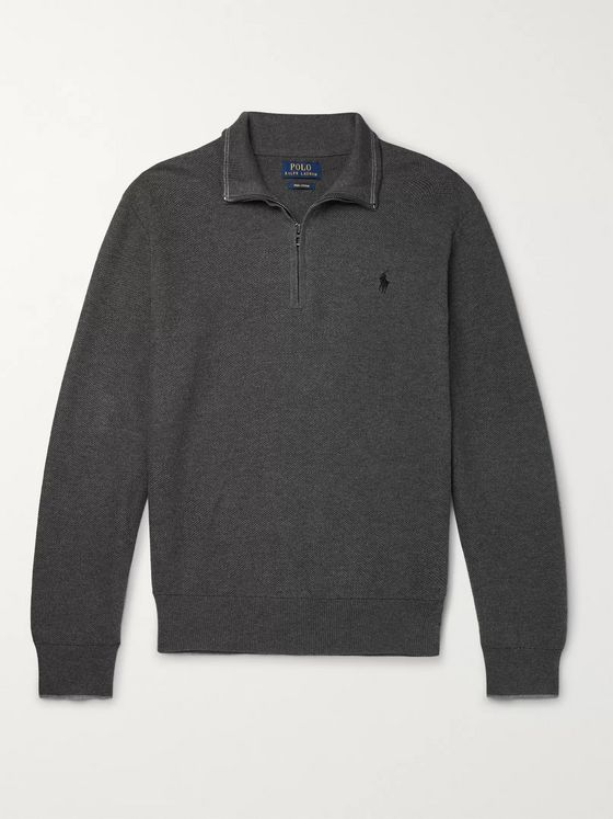 Polo Ralph Lauren Waffle-Knit Cotton Half-Zip Sweater