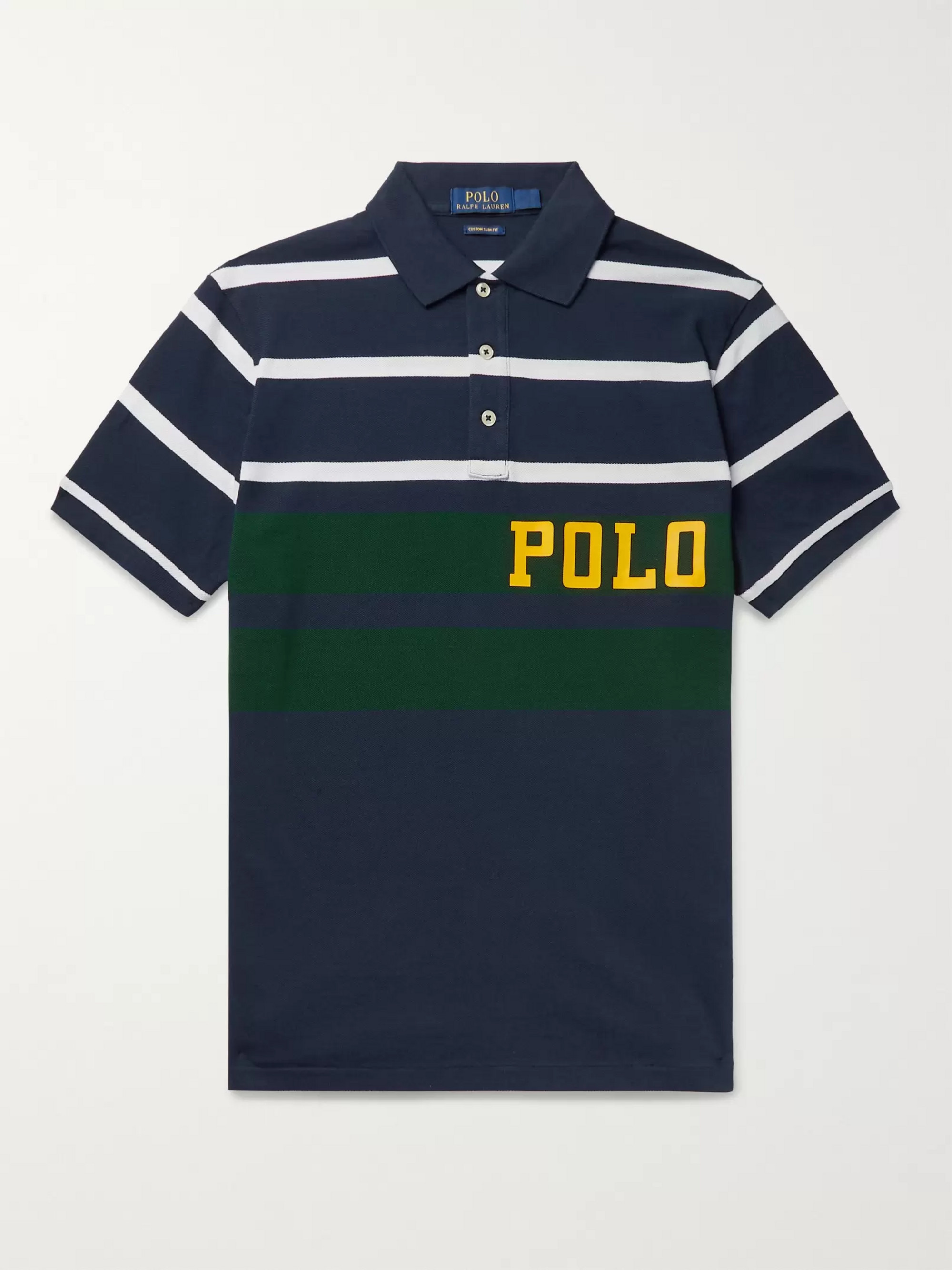Polo Ralph Lauren Logo-Print Striped Cotton-Piqué Polo Shirt