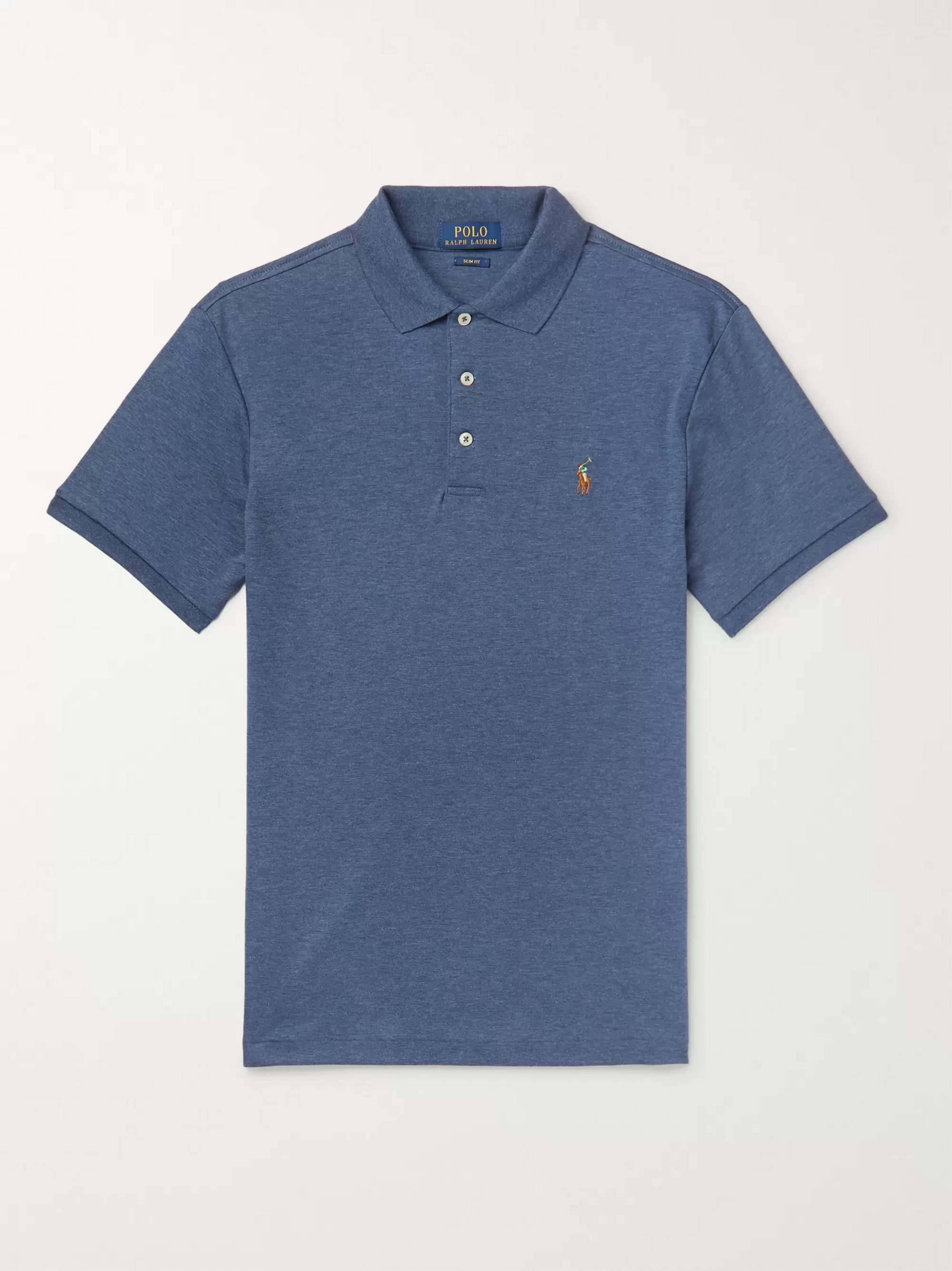 Polo Ralph Lauren Slim-Fit Mélange Pima Cotton-Jersey Polo Shirt