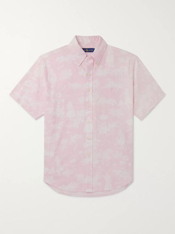 Polo Ralph Lauren Button-Down Collar Printed Linen and Cotton-Blend Shirt