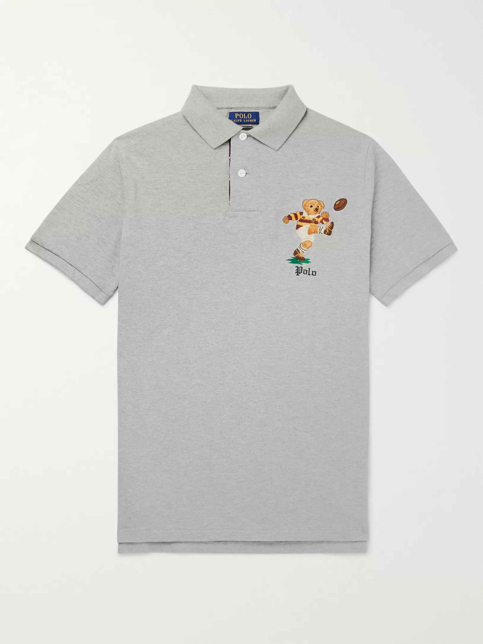 Polo Ralph Lauren Embroidered Mélange Cotton-Piqué Polo Shirt