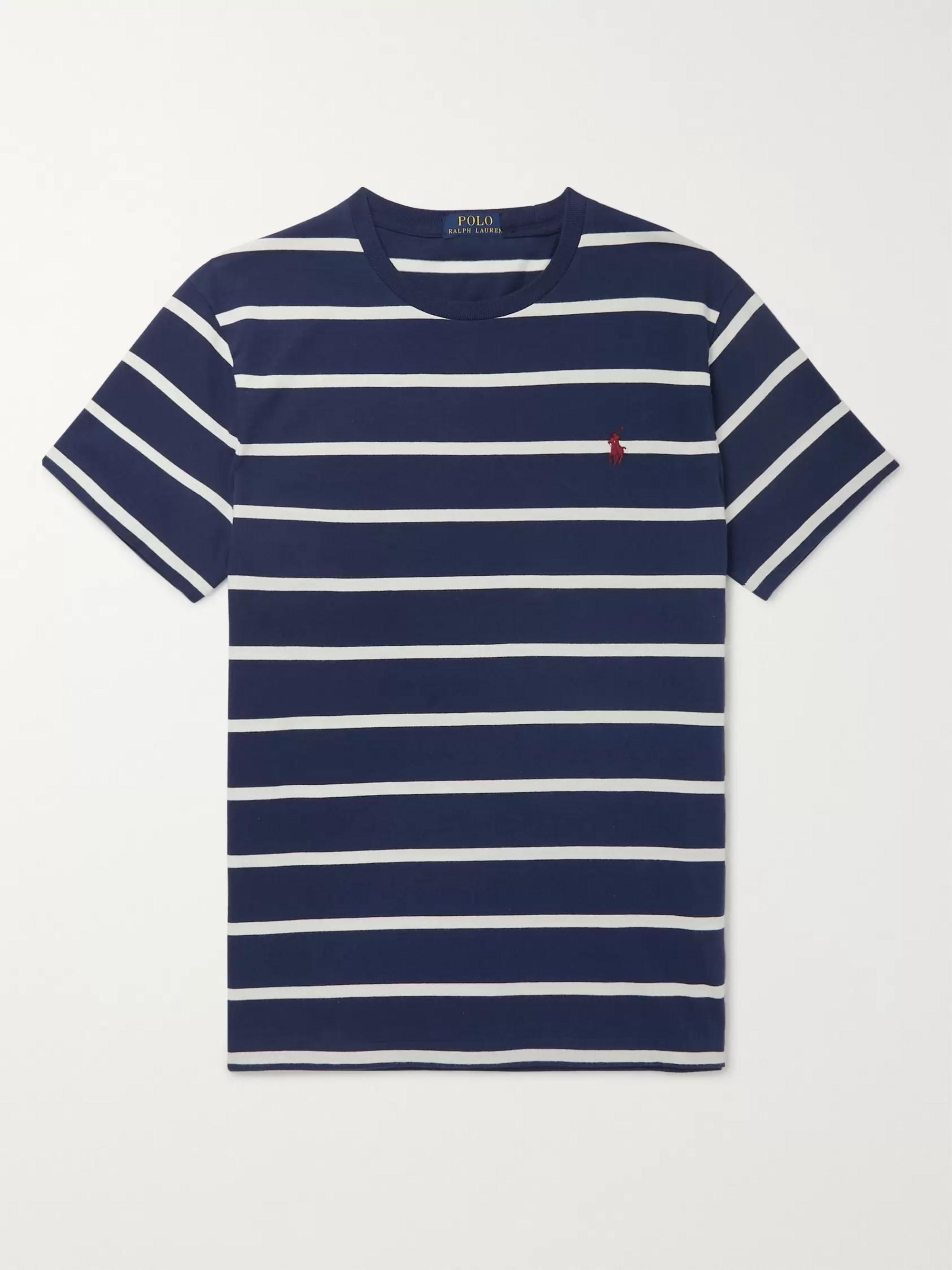 1e31d1b90486 Navy Slim-Fit Striped Cotton-Jersey T-Shirt | Polo Ralph Lauren | MR ...