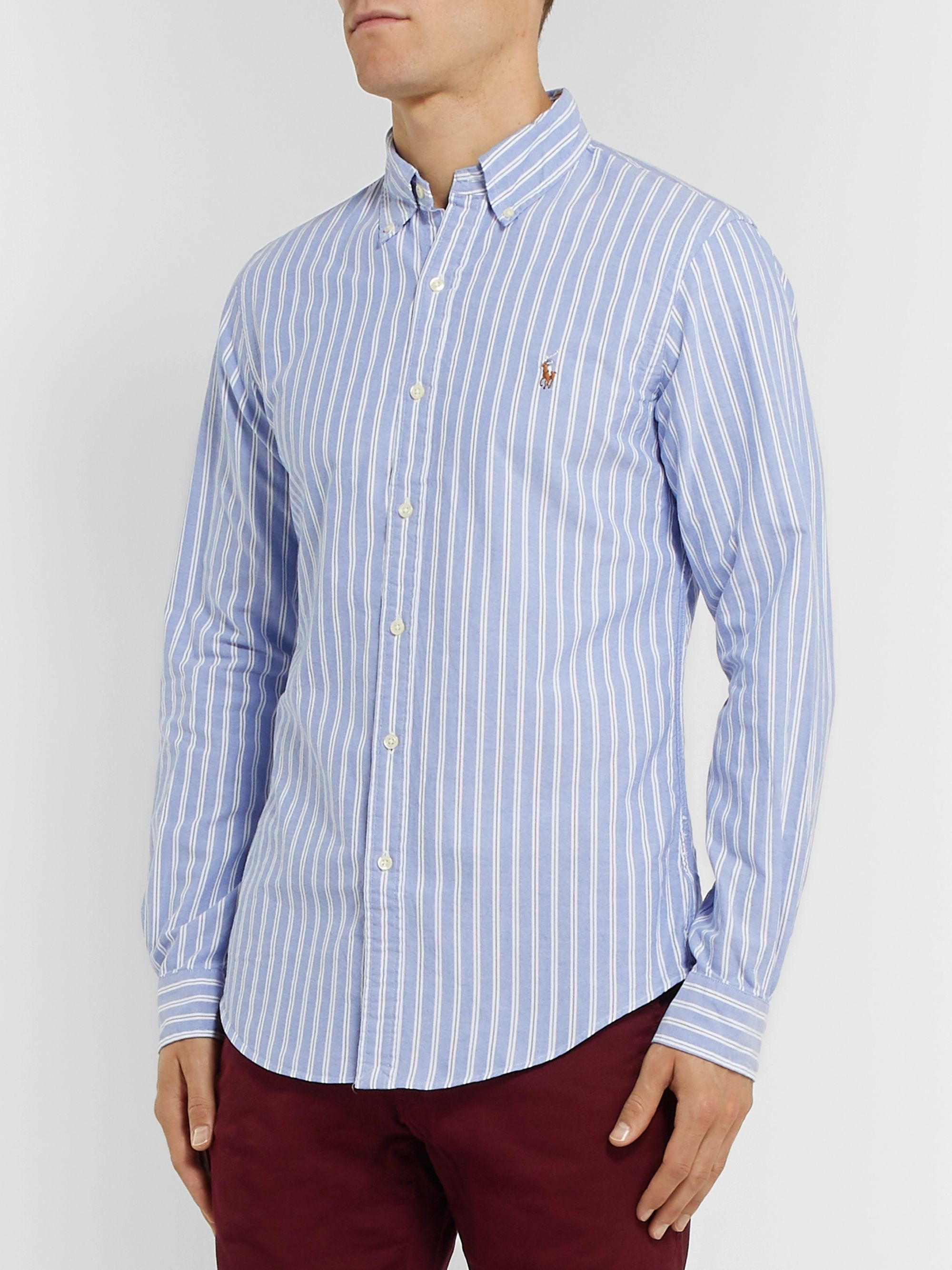 Polo Ralph Lauren Slim-Fit Button-Down Collar Striped Cotton Oxford Shirt
