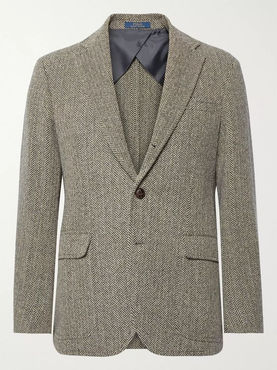 Polo Ralph Lauren Black and Beige Herringbone Wool-Blend Blazer