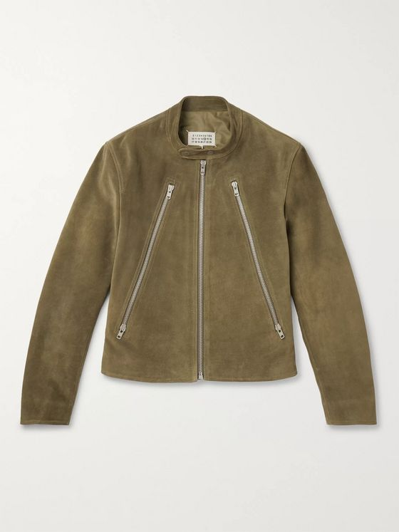 Maison Margiela Slim-Fit Suede Biker Jacket