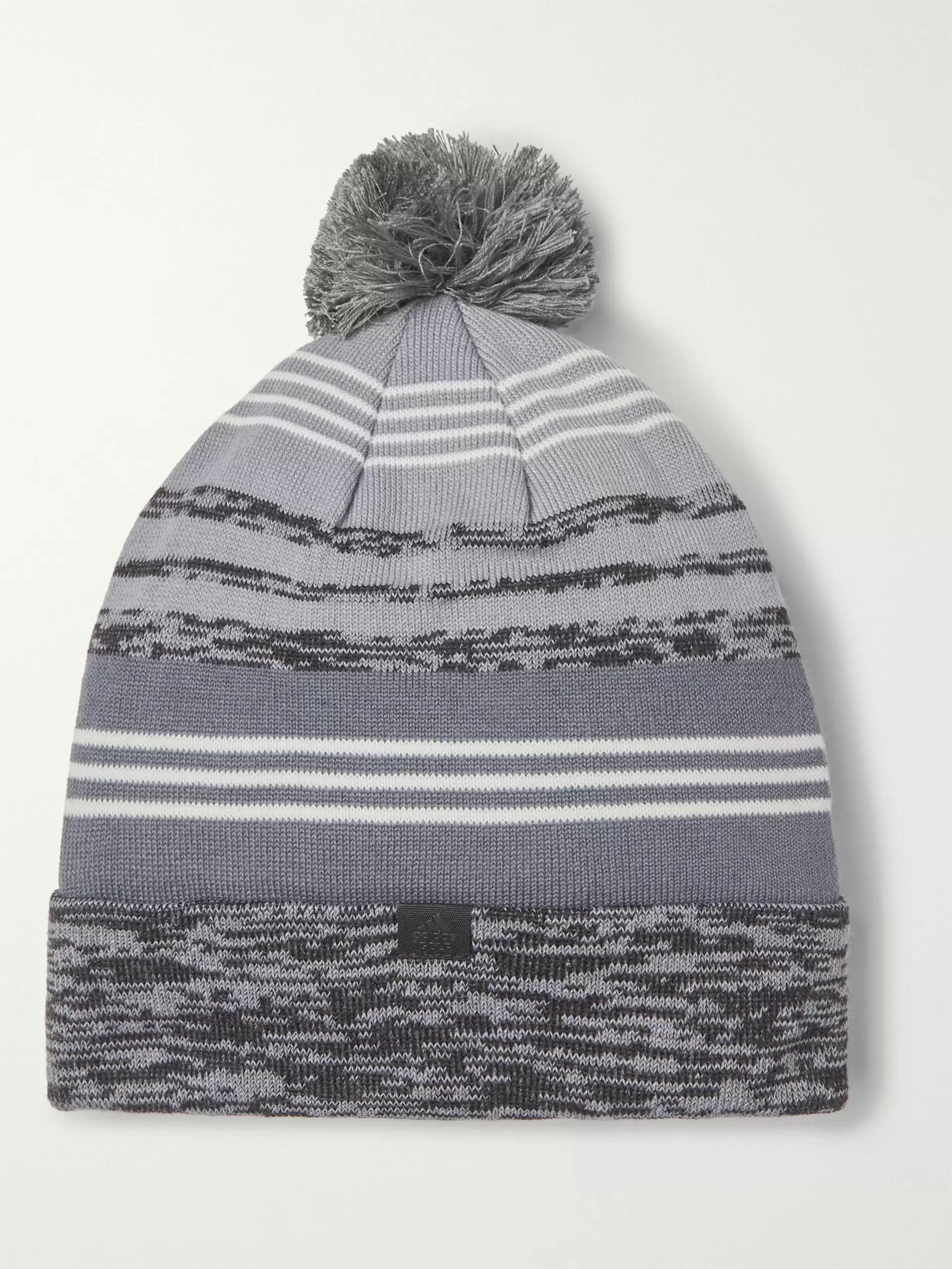 Adidas Golf Striped Space-Dyed Stretch-Knit Beanie