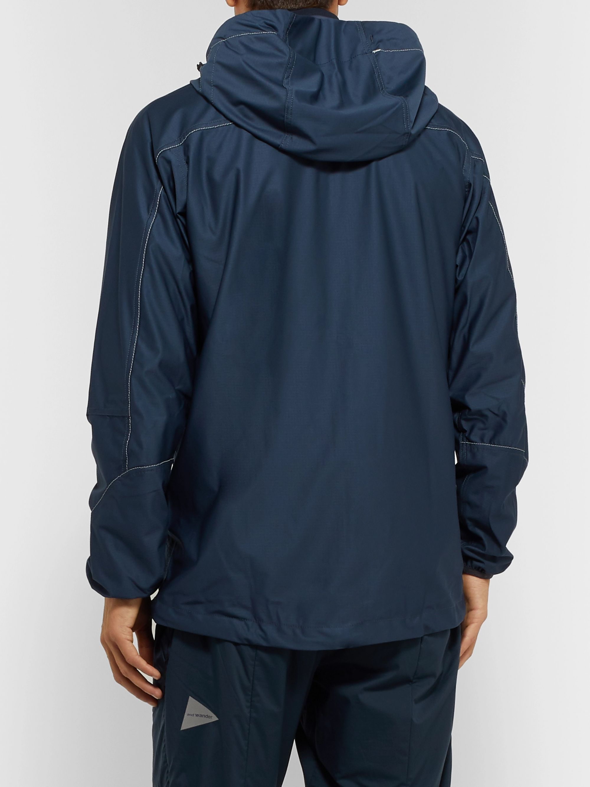 And Wander Raschel Reflective-Trimmed Shell Hooded Jacket