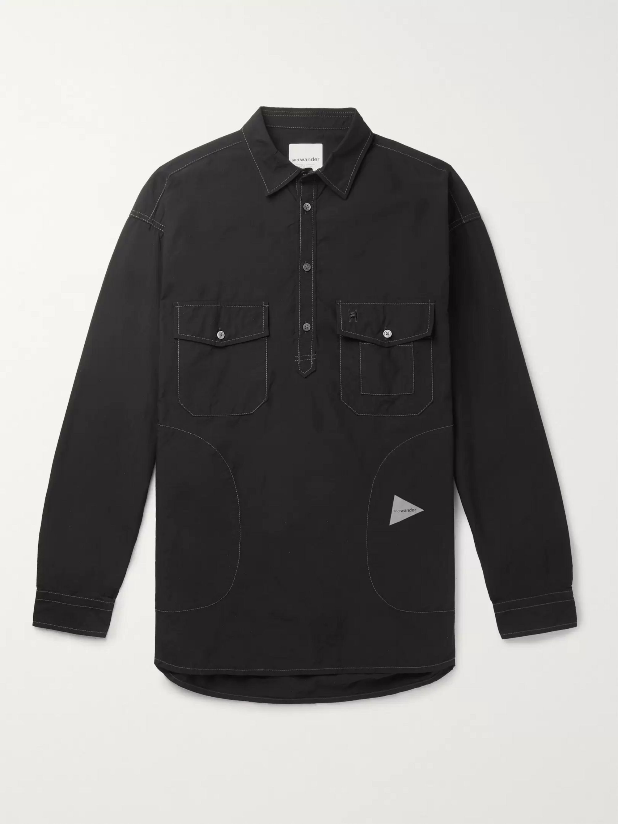 And Wander Typewriter CORDURA Half-Placket Shirt