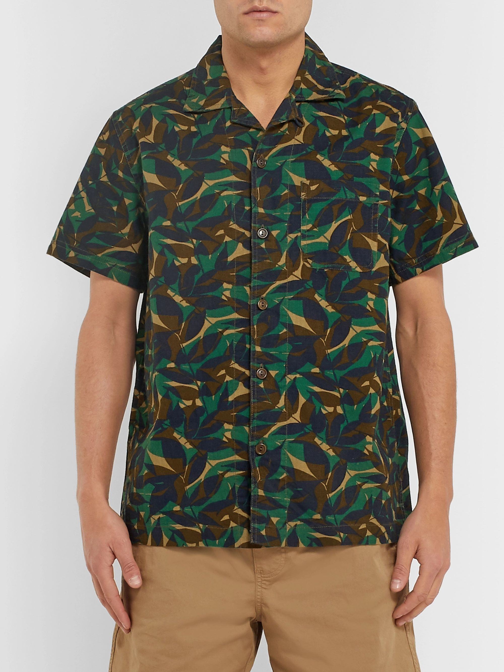 J.Crew Camp-Collar Printed Cotton-Ripstop Shirt
