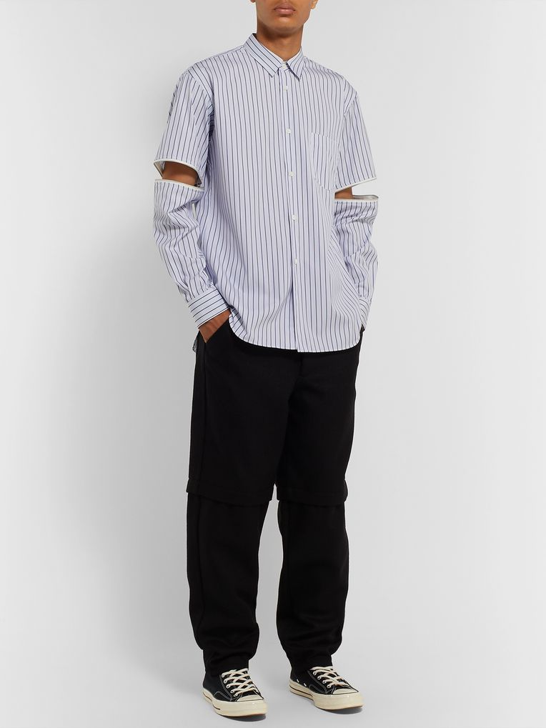 Comme des Garçons SHIRT Zip-Trimmed Striped Cotton Shirt