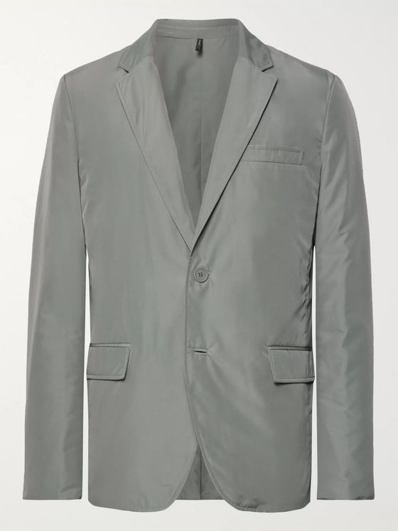 Helmut Lang Grey Unstructured Padded Shell Blazer