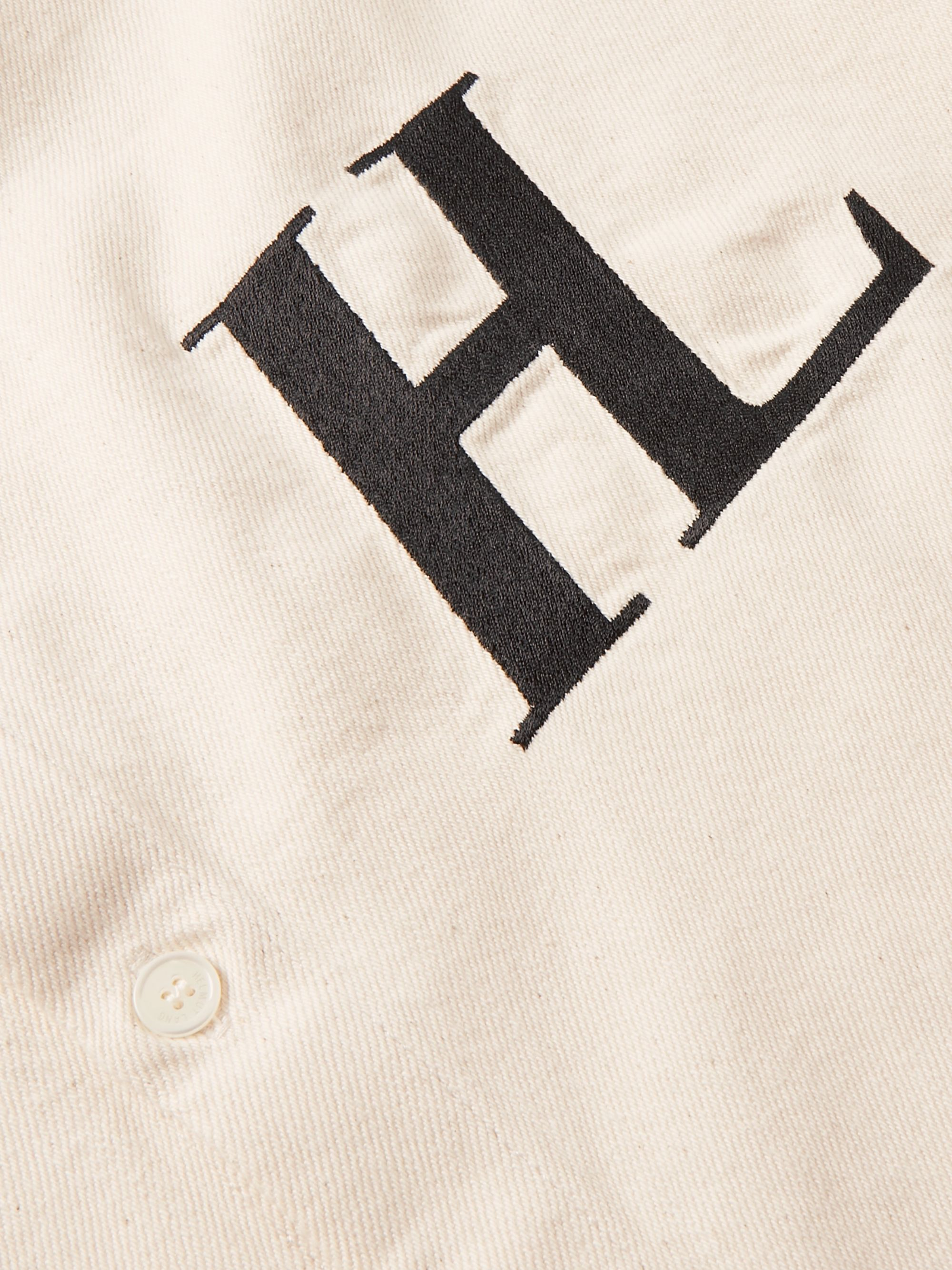 Helmut Lang Button-Down Collar Logo-Embroidered Cotton-Twill Shirt
