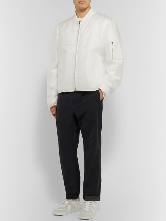 Helmut Lang Layered Nylon and Voile Padded Bomber Jacket