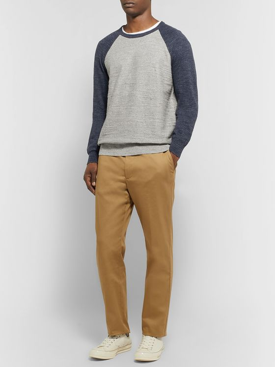 J.Crew Colour-Block Slub Mélange Cotton Sweatshirt