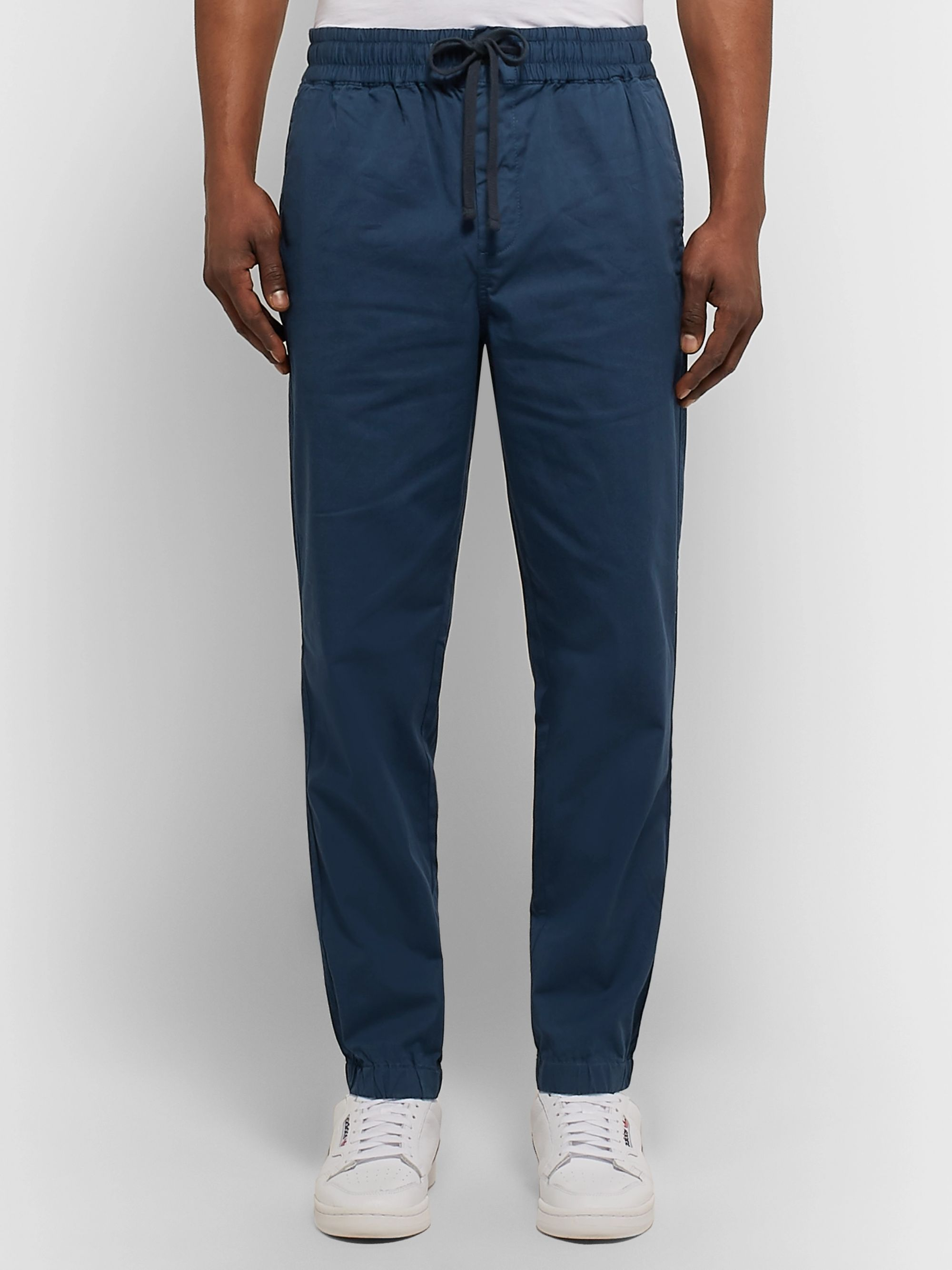 J.Crew Storm-Blue Garment-Dyed Cotton-Blend Twill Drawstring Trousers