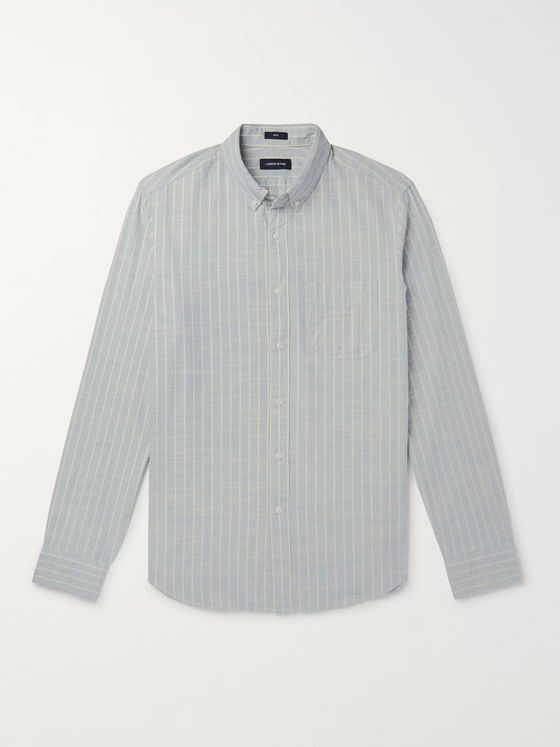 J.Crew Button-Down Collar Striped Cotton-Chambray Shirt