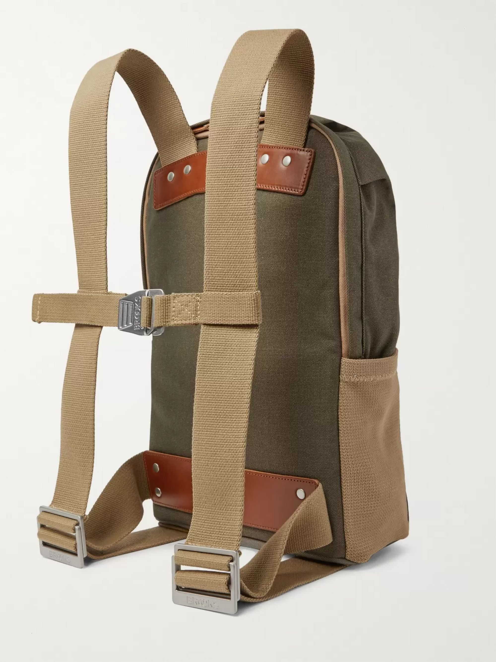 Army Green Dalston Small Leather-trimmed Canvas Backpack | Brooks England