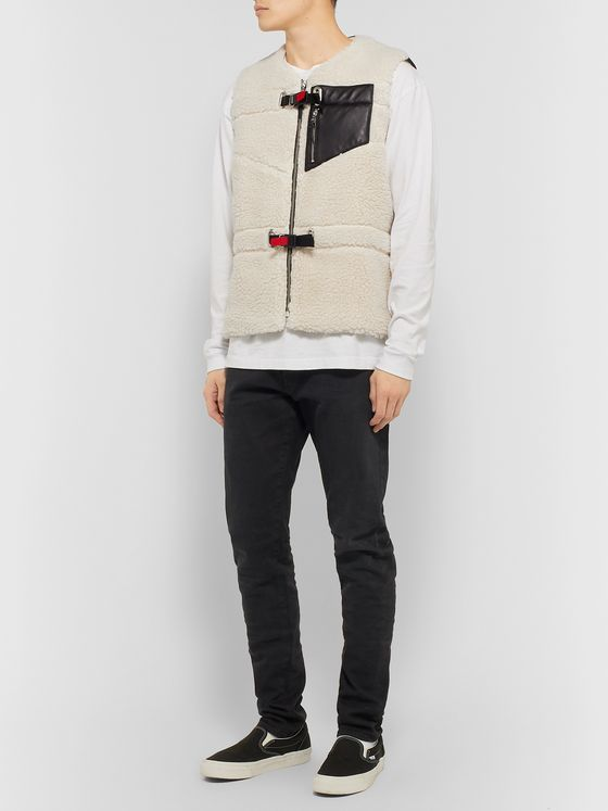 John Elliott Leather-Trimmed Polar Fleece Gilet
