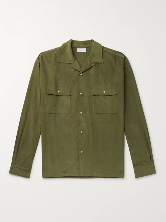 John Elliott Camp-Collar Cotton-Corduroy Shirt