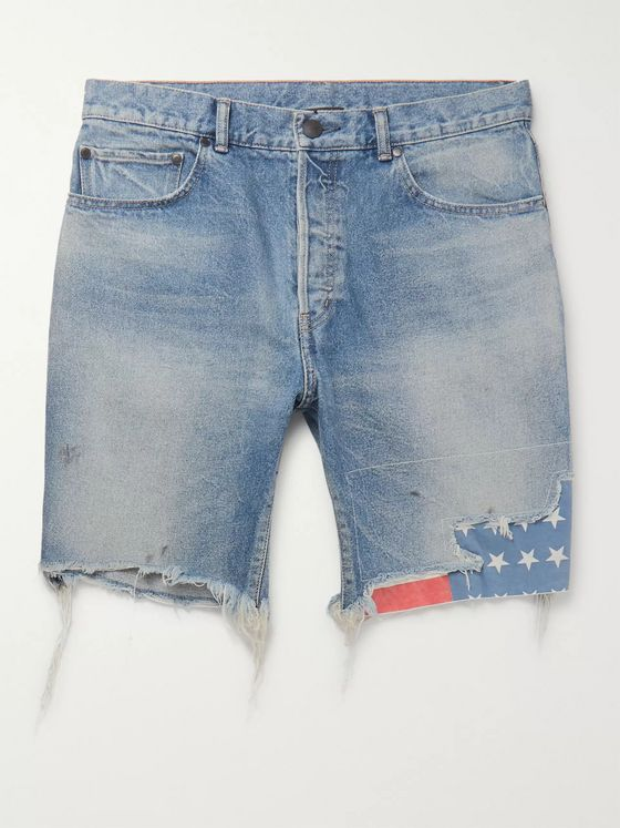 John Elliott Bozeman Wide-Leg Distressed Denim Shorts