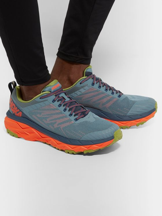 Hoka One One Challenger ATR 5 Rubber-Trimmed Mesh Trail Running Sneakers