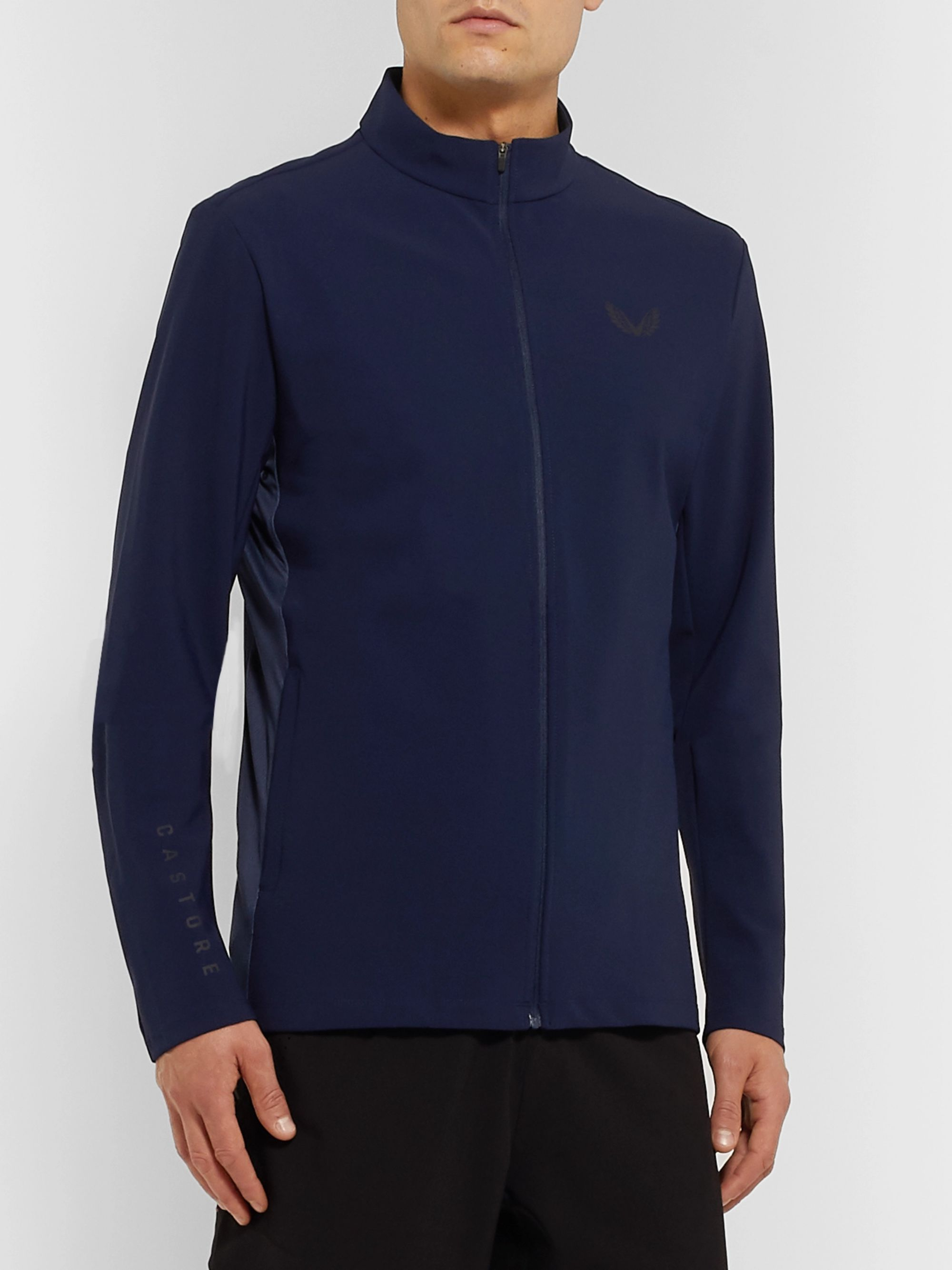 CASTORE Hampson Mesh-Trimmed Bonded Stretch-Jersey Track Jacket