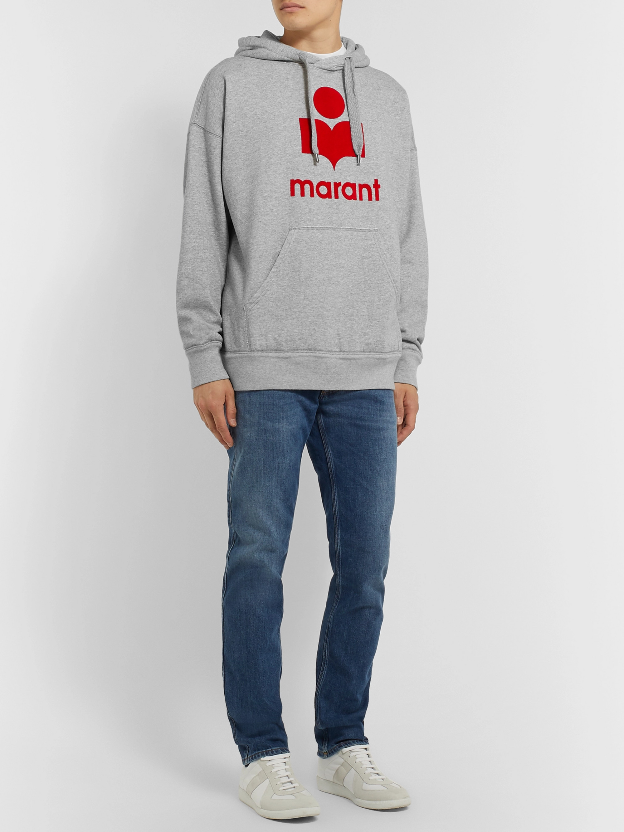 Isabel Marant Miley Logo-Flocked Fleece-Back Cotton-Blend Jersey Hoodie
