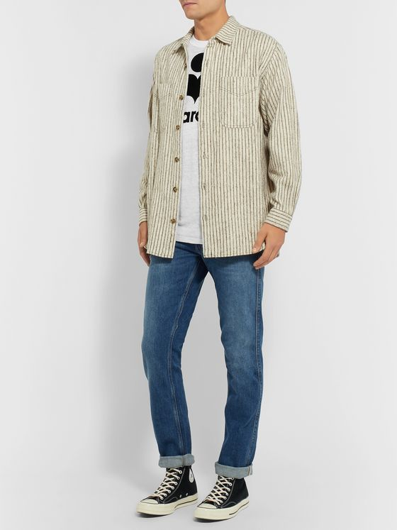 Isabel Marant Karman Logo-Flocked Linen T-Shirt