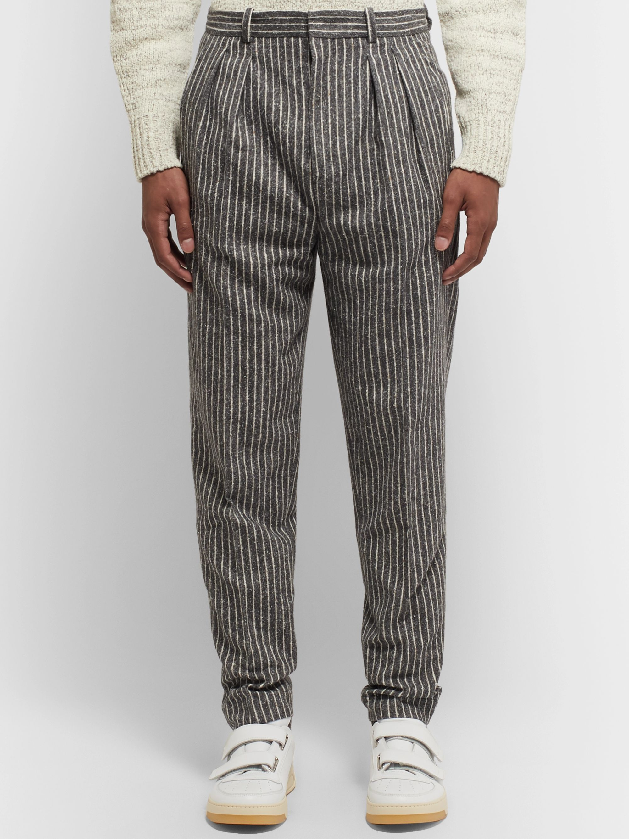 Isabel Marant Vermer Tapered Pleated Striped Slub Cotton-Blend Trousers
