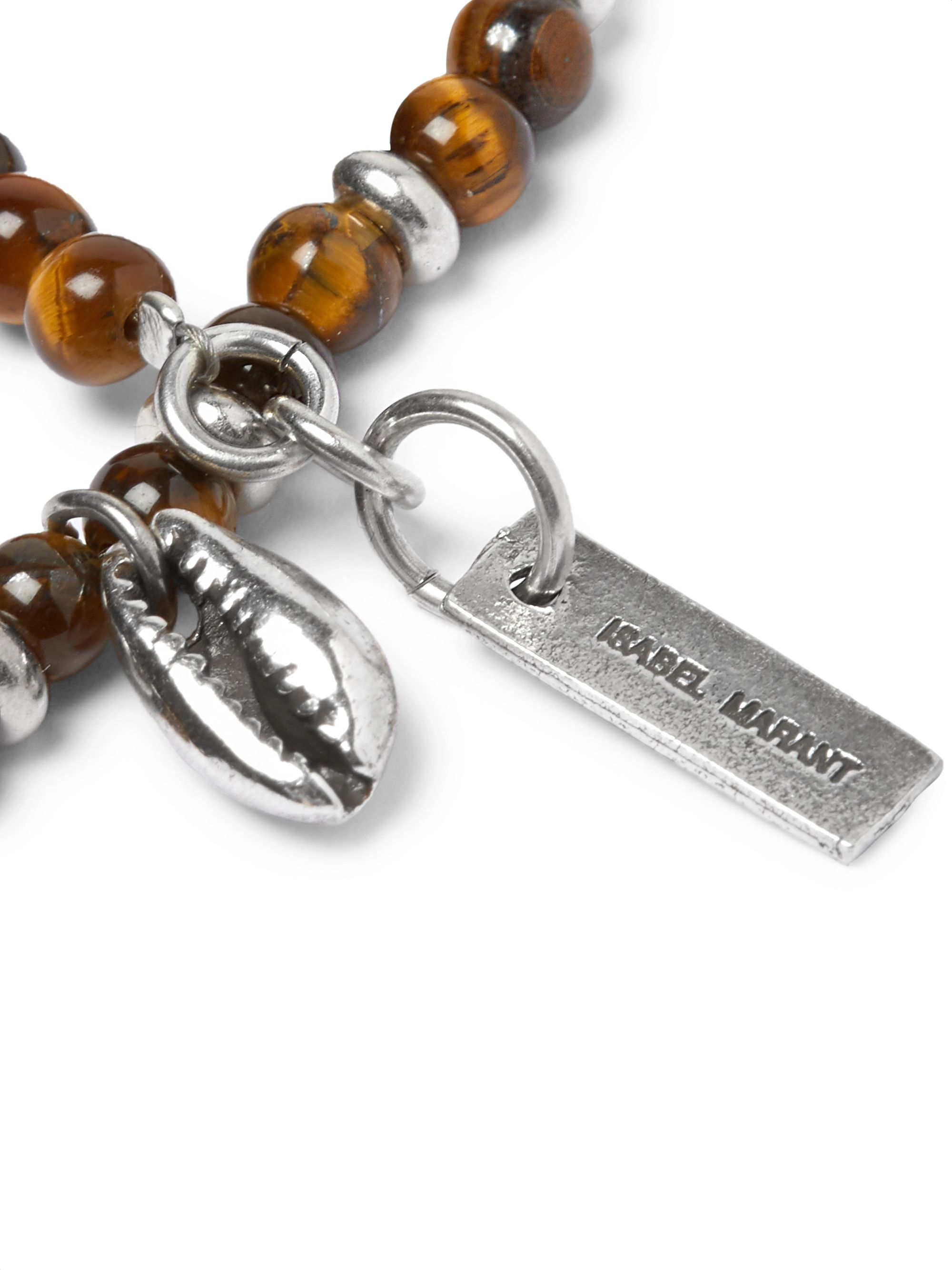 Isabel Marant Silver-Tone and Tiger's Eye Beaded Bracelet